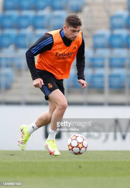 Federico Valverde of Real Madrid is training at Valdebebas training ground on October 16, 2021 in Madrid, Spain.
