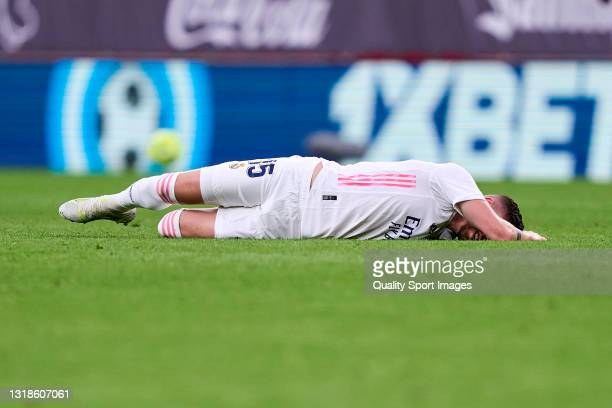 Federico Valverde of Real Madrid lies injured on the pitch during the La Liga Santander match between Athletic Club and Real Madrid at Estadio de San...