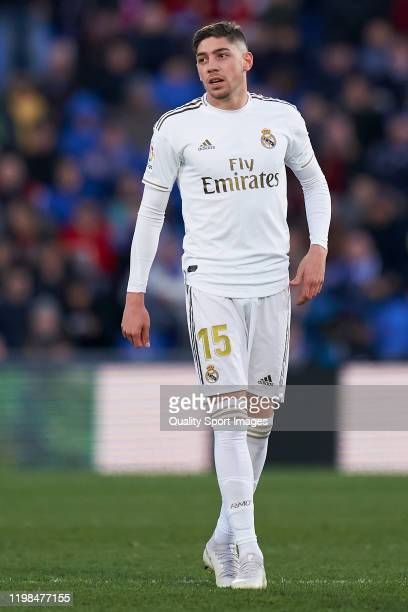 Federico Valverde of Real Madrid looks on during the Liga match between Getafe CF and Real Madrid CF at Coliseum Alfonso Perez on January 04 2020 in...