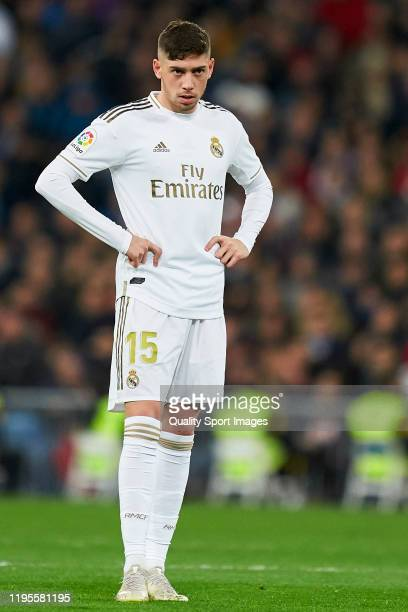 Federico Valverde of Real Madrid looks on during the Liga match between Real Madrid CF and Athletic Club at Estadio Santiago Bernabeu on December 22...