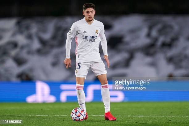 Federico Valverde of Real Madrid looks on during the UEFA Champions League Group B stage match between Real Madrid and Shakhtar Donetsk at Estadio...