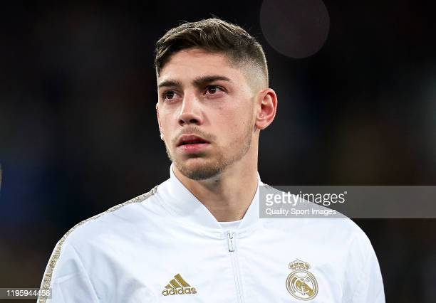 Federico Valverde of Real Madrid looks on prior the game during the Liga match between Real Madrid and Athletic Bilbao on December 22 2019 in Madrid...