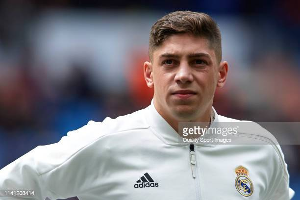 Federico Valverde of Real Madrid looks on prior to the La Liga match between Real Madrid CF and SD Eibar at Estadio Santiago Bernabeu on April 06...