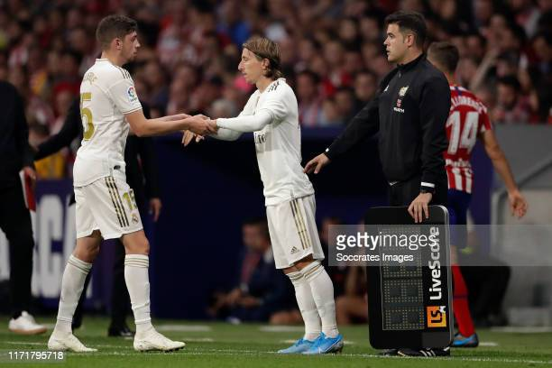 Federico Valverde of Real Madrid Luka Modric of Real Madrid during the La Liga Santander match between Atletico Madrid v Real Madrid at the Estadio...