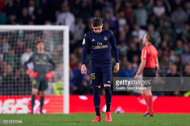 Federico Valverde of Real Madrid reacts during the La Liga match between Real Betis Balompie and Real Madrid CF at Estadio Benito Villamarin on March...