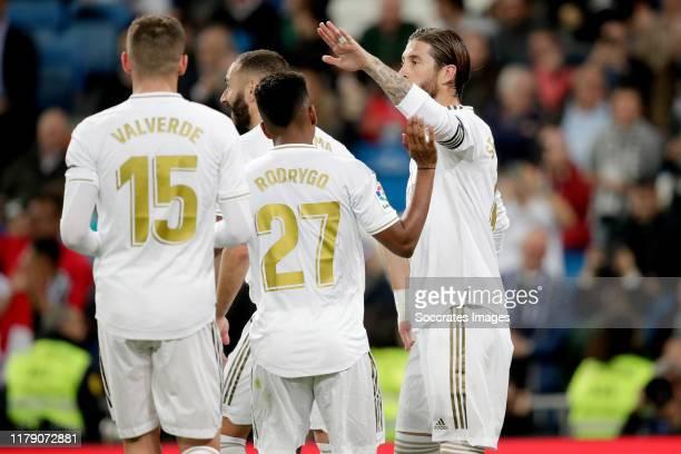 Federico Valverde of Real Madrid Rodrygo of Real Madrid Sergio Ramos of Real Madrid celebrate goal during the La Liga Santander match between Real...