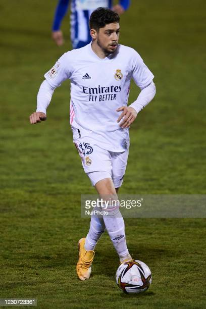 Federico Valverde of Real Madrid runs with the ball during the round of 32 the Copa del Rey match between CD Alcoyano and Real Madrid at Campo...