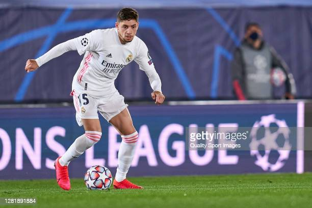 Federico Valverde of Real Madrid runs with the ball during the UEFA Champions League Group B stage match between Real Madrid and Shakhtar Donetsk at...