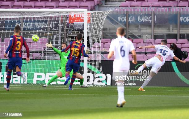 Federico Valverde of Real Madrid scores his team's first goal during the La Liga Santander match between FC Barcelona and Real Madrid at Camp Nou on...