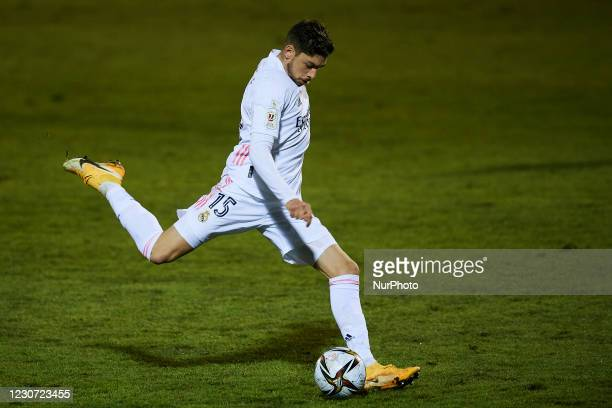 Federico Valverde of Real Madrid shooting to goal during the round of 32 the Copa del Rey match between CD Alcoyano and Real Madrid at Campo...