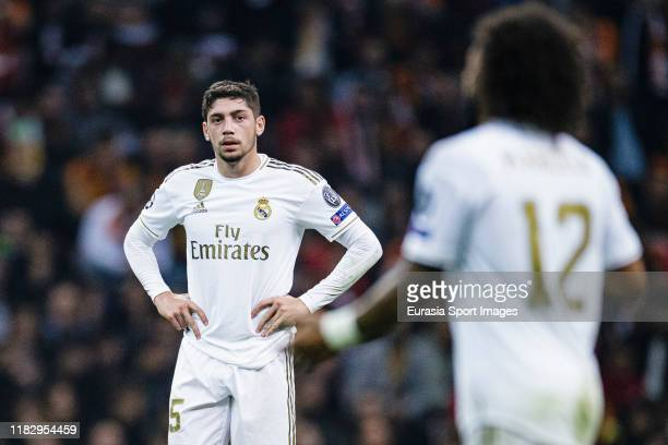 Federico Valverde of Real Madrid walks in the field during the UEFA Champions League group A match between Galatasaray and Real Madrid at Turk...