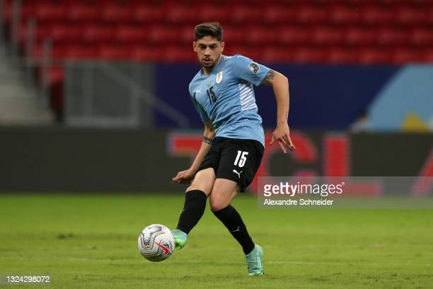 Federico Valverde of Uruguay controls the ball during a group A match between Argentina and Chile as part of Conmebol Copa America Brazil 2021 at...