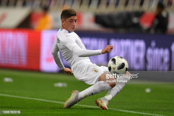 Federico Valverde of Uruguay in action during the international friendly match between Japan and Uruguay at Saitama Stadium on October 16 2018 in...