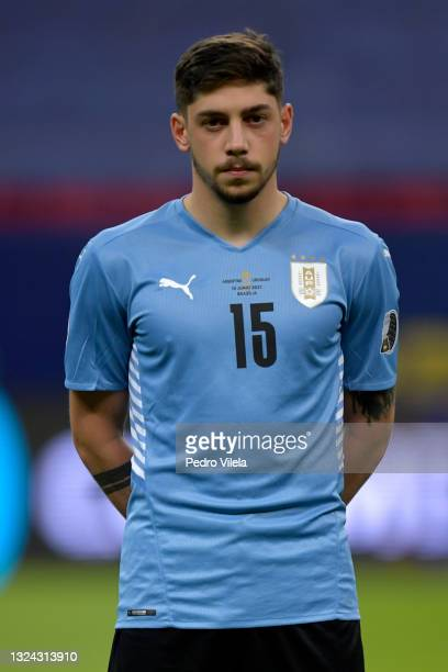 Federico Valverde of Uruguay looks on prior to a group A match between Argentina and Chile as part of Conmebol Copa America Brazil 2021 at Mane...