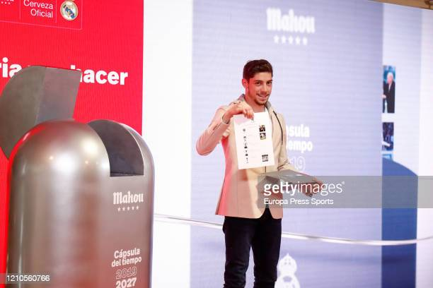 Federico Valverde poses for photo during the signing of the sponsorship agreement between Real Madrid CF and Mahou 5 Estrellas at Santiago Bernabeu...