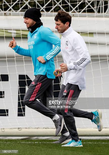 Federico Valverde running during a Real Madrid training session at Valdebebas training ground on February 08, 2021 in Madrid, Spain.