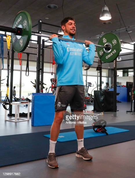 Federico Valverde wieght lifting at Valdebebas training ground on January 27, 2021 in Madrid, Spain.