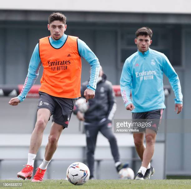 Federico Valverde with Hugo Duro of Real Madrid CF during training at Valdebebas training ground on February 28, 2021 in Madrid, Spain.