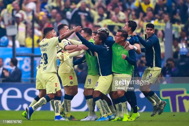 Federico Viñas of America celebrate with teammates after scoring the first goal of his team during the Final second leg match between America and...