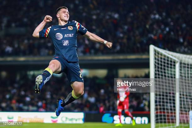 Federico Viñas of America celebrates after scoring the second goal of his team during the 9th round match between Pumas UNAM and America as part of...