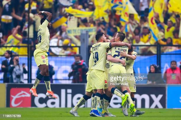 Federico Viñas of America celebrates with teammates after scoring the first goal of his team during the Final second leg match between America and...
