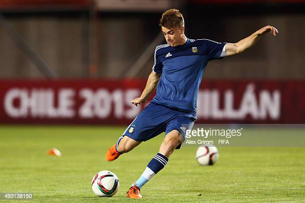 Federico Vietto shoots the ball during a Argentina training session at Estadio Nelson Oyarzun Arenas stadium ahead of the FIFA U17 World Cup Chile...