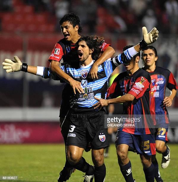 Federico Vilar Fernando Navarro Arturo Munoz and Raymundo Torres of Atlante celebrate a goal against Olimpia of Honduras during a Concacaf Champions...