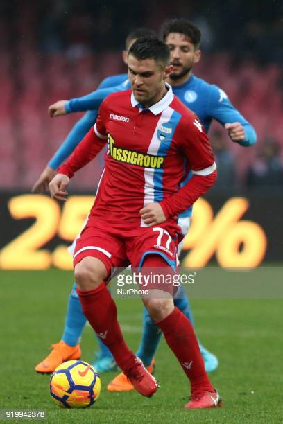 Federico Viviani vies Dries Mertens during the Italian Serie A football SSC Napoli v Spal at S Paolo Stadium in Naples on February 18 2018