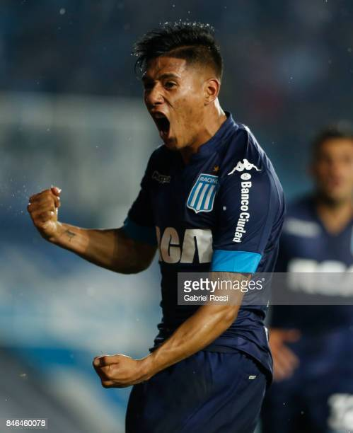 Federico Zaracho of Racing Club celebrates after scoring the second goal of his team during a match between Temperley and Racing Club as part of the...