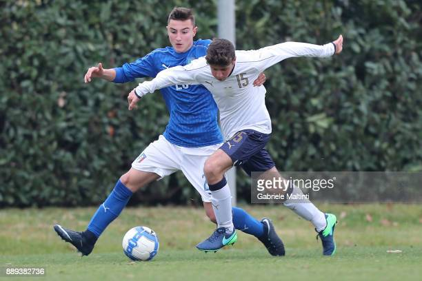Federico Zuccon of Italy in action against Gabriele Bracaglia of Italy during the FIGC U15 Christmas Tournament at Coverciano on December 10 2017 in...