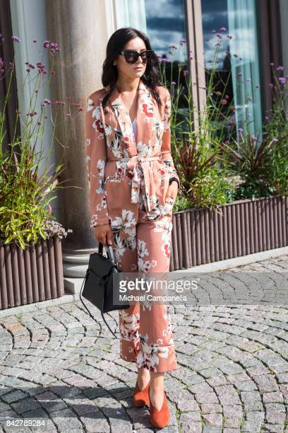 Federika Persson poses for a picture wearing a suit from Zara with a handbag from Celine during the third day of Stockholm Fashion Week at Grand...