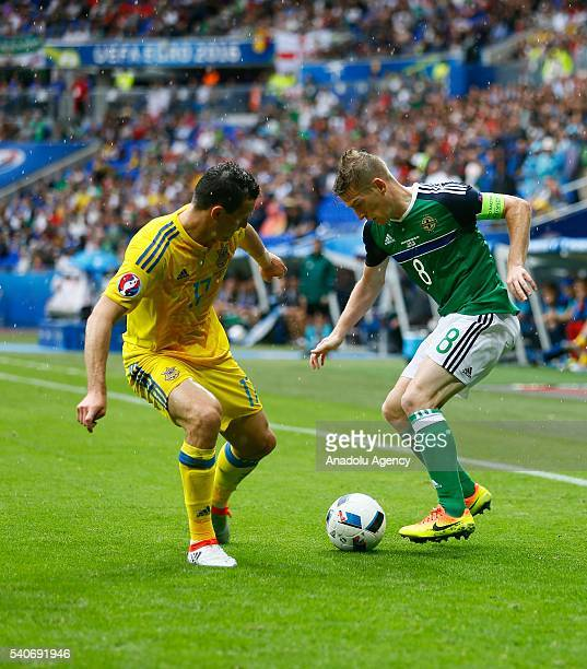 Fedetskiy of Ukraine in action against Davis of Republic of Ireland during the UEFA EURO 2016 Group E match between Ukraine and Republic of Ireland...