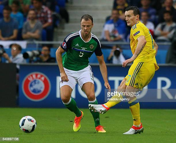 Fedetskiy of Ukraine in action against Evans of Republic of Ireland during the UEFA EURO 2016 Group E match between Ukraine and Republic of Ireland...