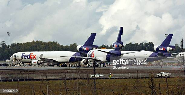 FedEx cargo planes are pictured at Ted Stevens International Airport in Anchorage Alaska Thursday August 25 2005