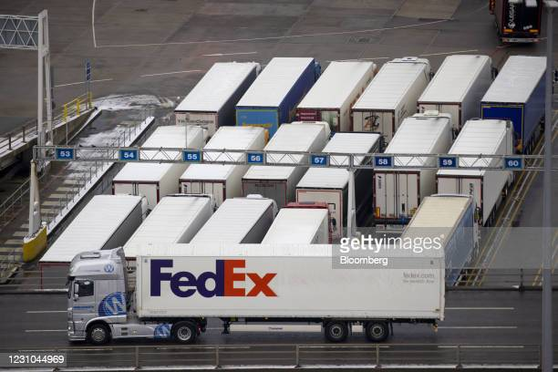 FedEx Corp. Truck at the Port of Dover Ltd. In Dover, U.K., on Monday, Feb. 8, 2021. Below to much below-normal temperatures will be seen throughout...