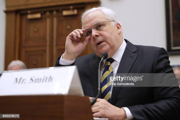 FedEx Corporation Chairman President and CEO Frederick Smith testifies before the House Transportation and Infrastructure Committee about how...