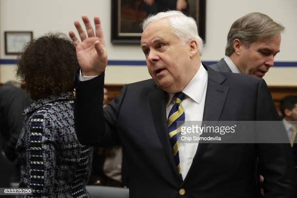 FedEx Corporation Chairman President and CEO Frederick Smith prepares to testify before the House Transportation and Infrastructure Committee in the...
