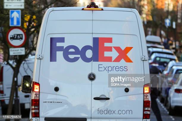 FedEx delivery van seen parked on the road in London.