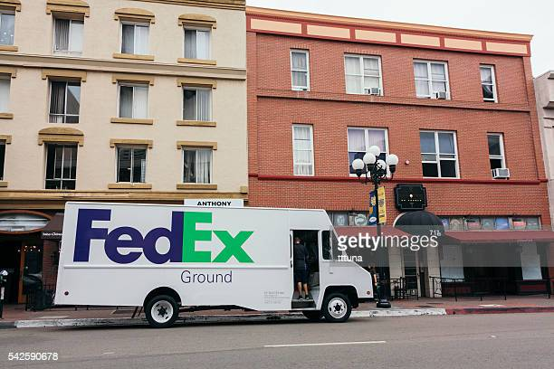 fedex express truck - fedex truck stock pictures, royalty-free photos & images