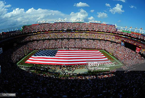 FedEx Field is shown during ceremonies before the seasonopening game between the Washington Redskins and the New York Giants at FedEx Field on...