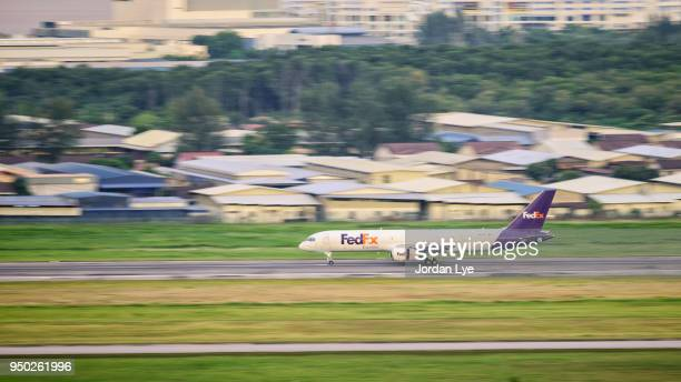 FedEx jet taking off
