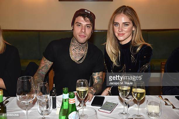 Fedez and Chiara Ferragni attend dinner for 'Inferno' Premiere hosted by Peuterey at Cantinetta Antinori on October 8 2016 in Florence Italy