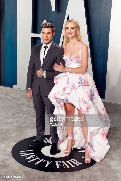 Fedez and Chiara Ferragni attend the 2020 Vanity Fair Oscar Party at Wallis Annenberg Center for the Performing Arts on February 09, 2020 in Beverly...