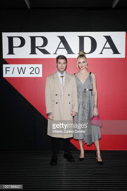 Fedez and Chiara Ferragni attend the Prada show during Milan Fashion Week Fall/Winter 2020/2021 on February 20 2020 in Milan Italy