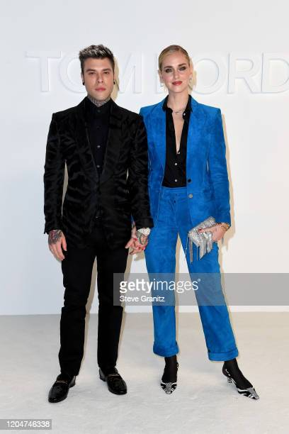 Fedez and Chiara Ferragni attend the Tom Ford AW20 Show at Milk Studios on February 07 2020 in Hollywood California