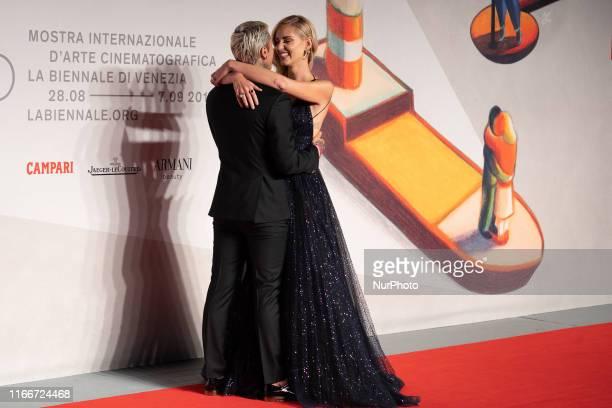 Fedez and Chiara Ferragni walk the red carpet ahead of the ''Chiara Ferragni Unposted'' screening during the 76th Venice Film Festival at Sala...