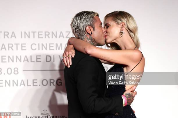 Fedez and Chiara Ferragni walk the red carpet ahead of the Chiara Ferragni Unposted screening during the 76th Venice Film Festival at Sala Giardino...