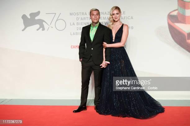 Fedez and Chiara Ferragni walk the red carpet ahead of the Chiara Ferragni Unposted screening during the 76th Venice Film Festival at Sala Giardino...