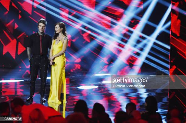 Fedez and Renza Castelli attends X Factor tv show at Teatro Linear Ciak on October 25 2018 in Milan Italy