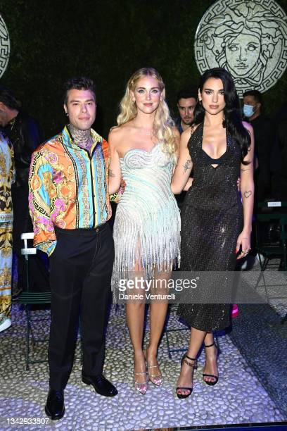 Fedez, Chiara Ferragni and Dua Lipa are seen on the front row of the Versace special event during the Milan Fashion Week - Spring / Summer 2022 on...
